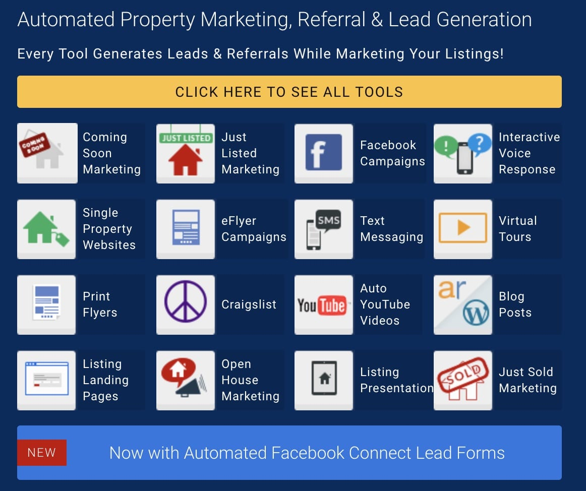 "Listings To Leads icons in a box with what the marketing tool does listed next to each one. A big yellow button says ""click here to see all tools"". Reads ""Automated property marketing, referral, and lead generation"""