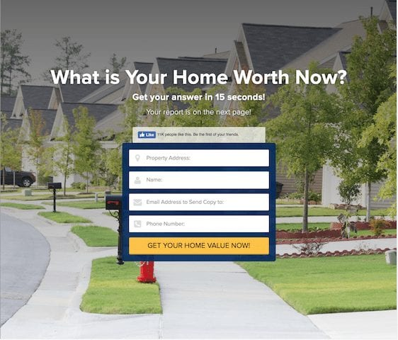 Shows a form with the question what is your home worth now on top. The form requires phone, email, address,