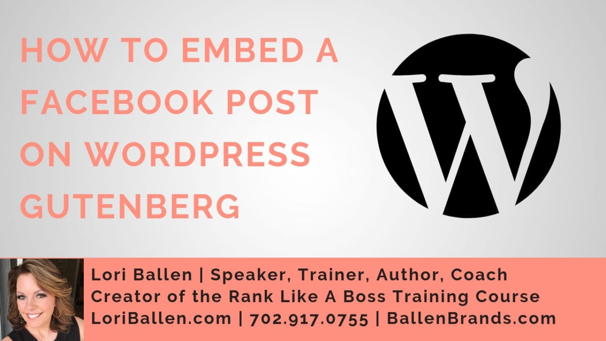 A Wordpress icon is in black and white next to the letters that spell out the words how to embed a facebook post using wordpress gutenberg