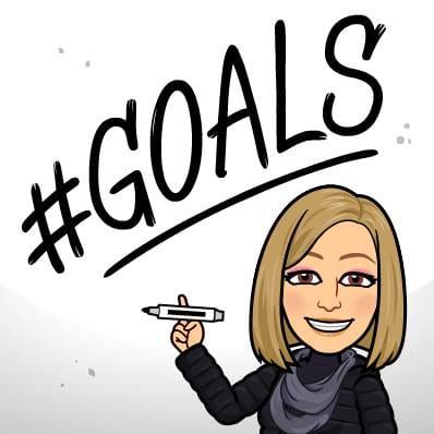 Lori Ballen Bitmoji has written #goals on the whiteboard