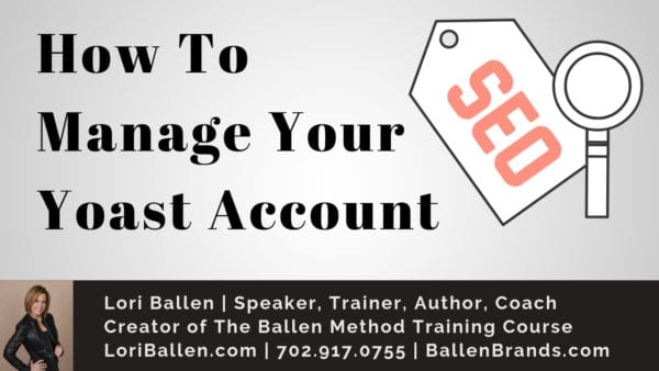 Banner with SEO icon reads How To Manage Your Yoast Account