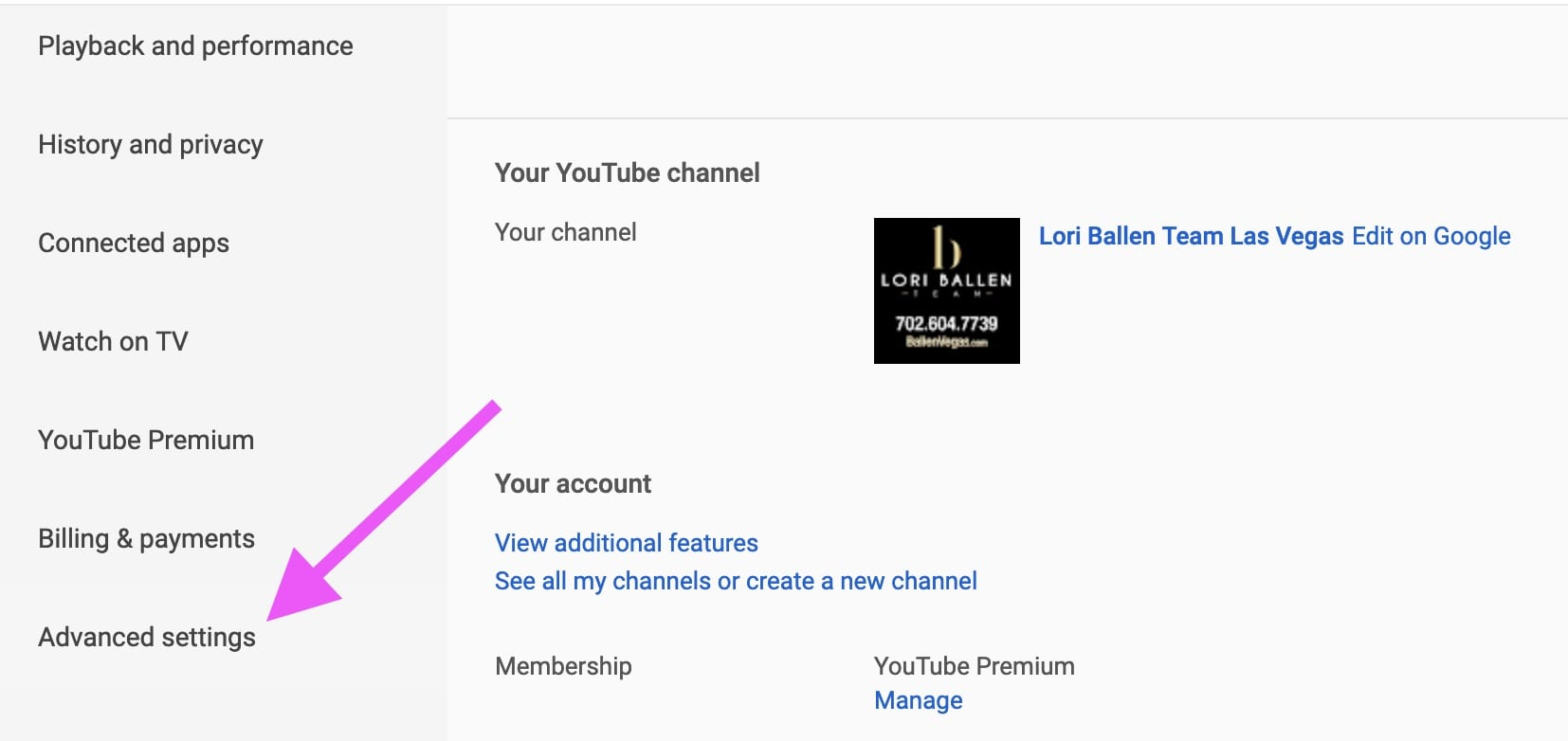 left column of youtube dashboard has a pink arrow pointing to the advanced settings option