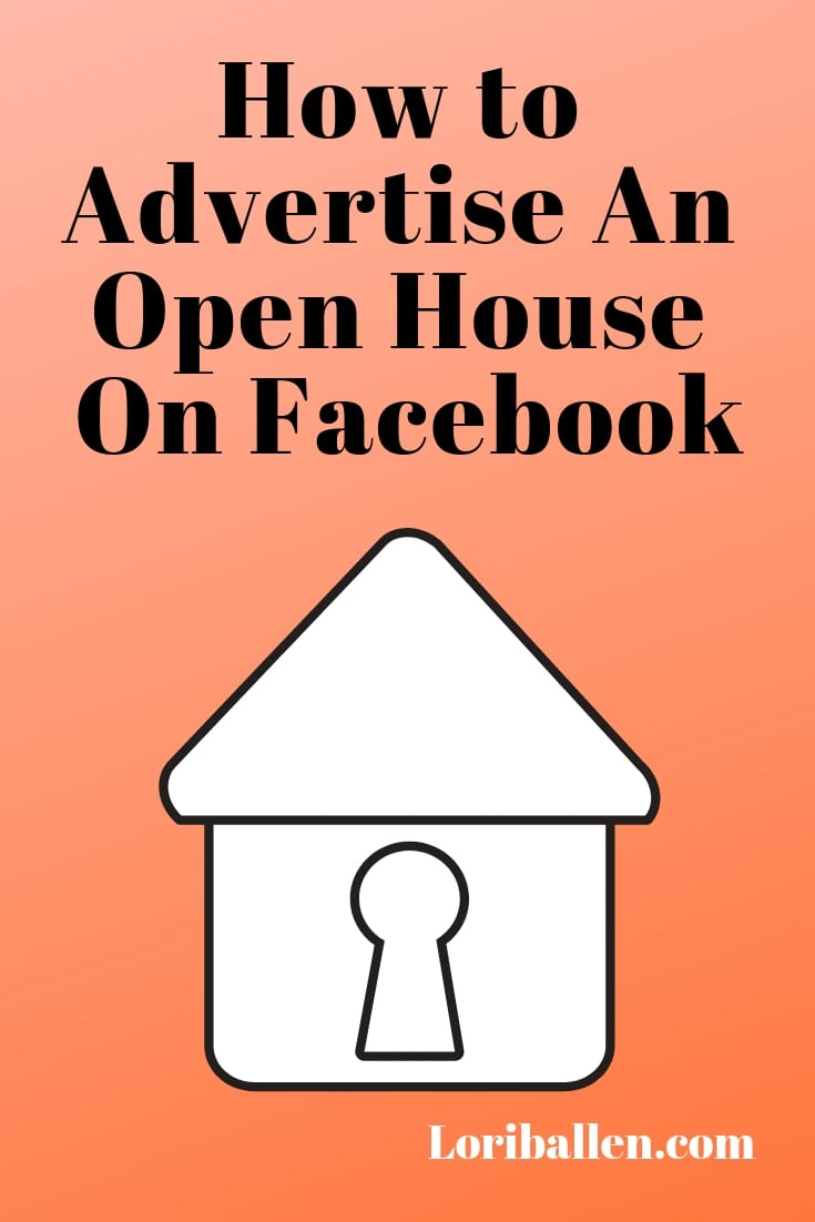 an open house on facebook is on a pin size graphic with a house icon
