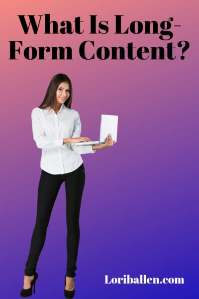 a woman is standing holding a computer and the words read what is long-form content
