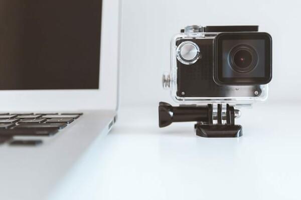 laptop and gopro camera