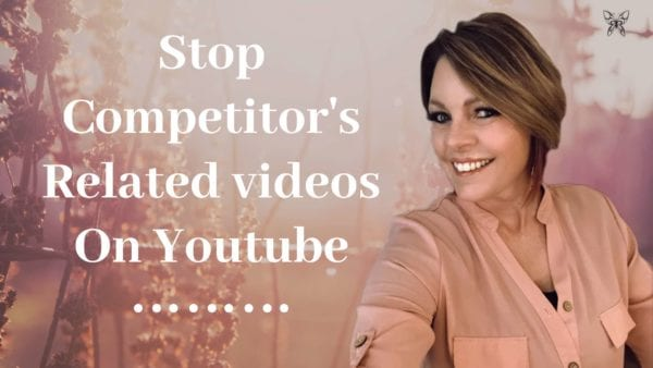 "Lori Ballen is wearing a peach shirt and is smiling. There is a peach floral background and letters that spell out the words ""Stop competitor's related videos on youtube"