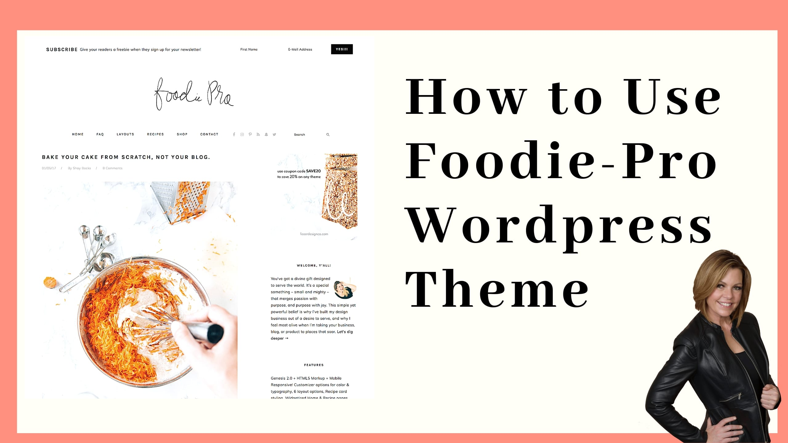 The Foodie Pro WordPress theme is one of the most popular themes for food blogs. It offers a She's sleek minimalist approach with a clean design with robust features. It's a Genesis theme favored for its flexibility.