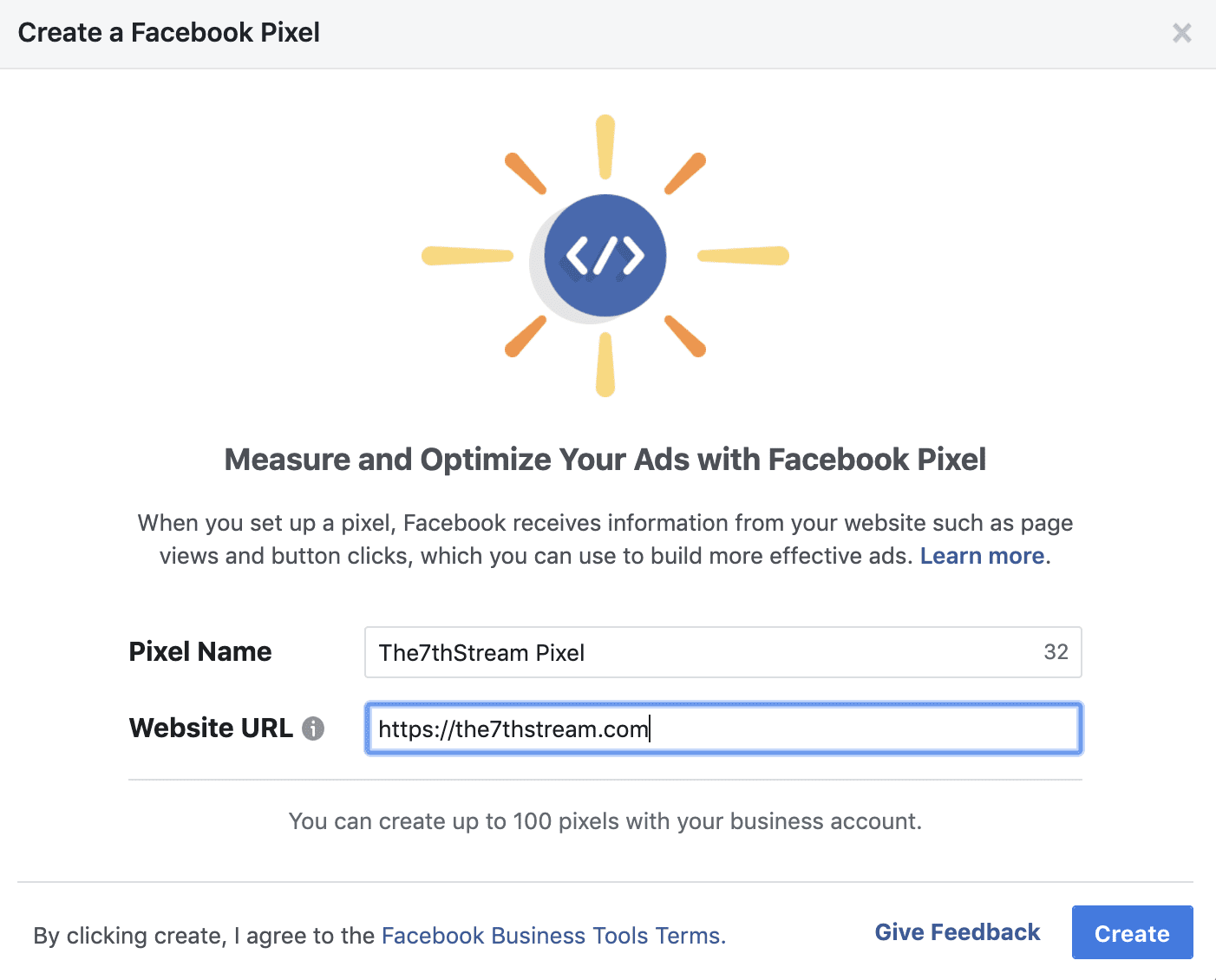 Sample of the starting page for setting up a Facebookf Pixel