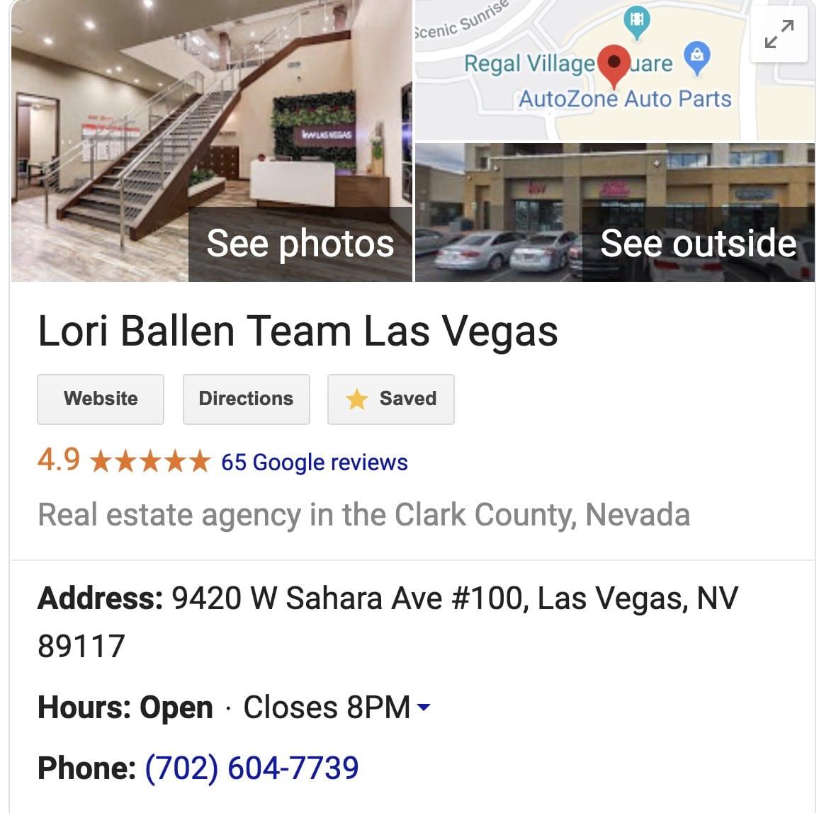Lori Ballen Team Las Vegas GMB listing