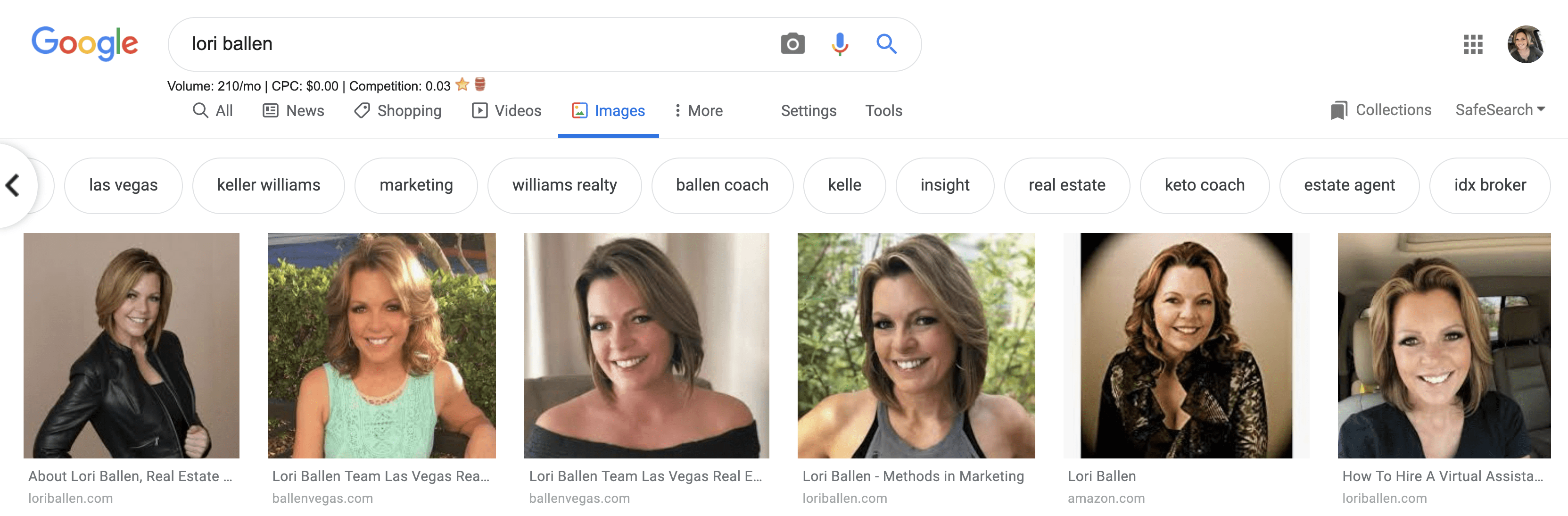 A sample of a carousel of keywords that appear in the images after someone types in a search query. This is Lori Ballen and the keywords say las vegas, keller williams, marketing, williams realty, ballen coach, kelle, insight, real estate, keto coach, real estate agent, idx broker and more
