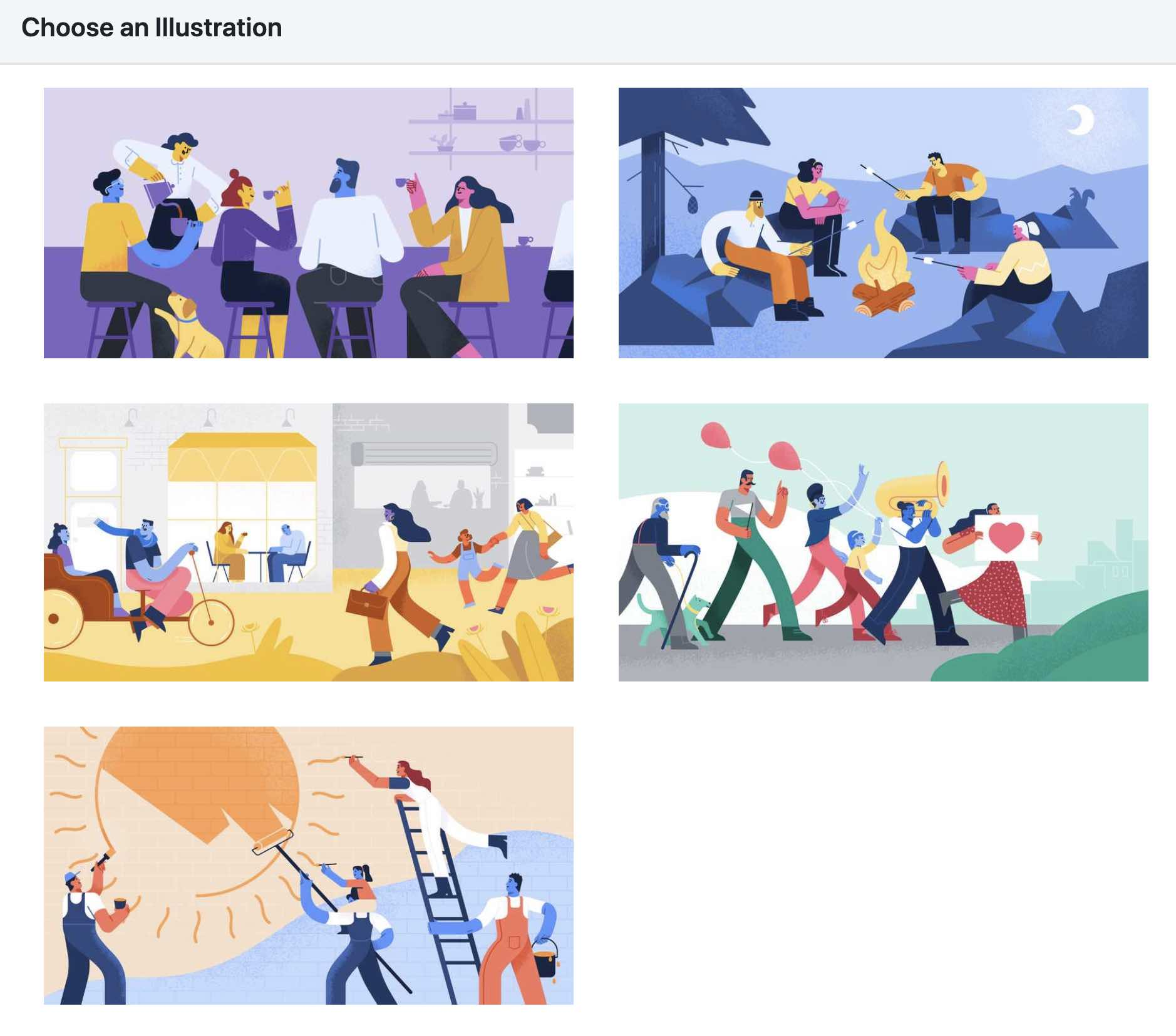 5 illustrations are shown to choose from for a Facebook Group, each showing a group of people doing something different like camping, marching in a band, painting a sun, drinking at a bar, or moving through a town
