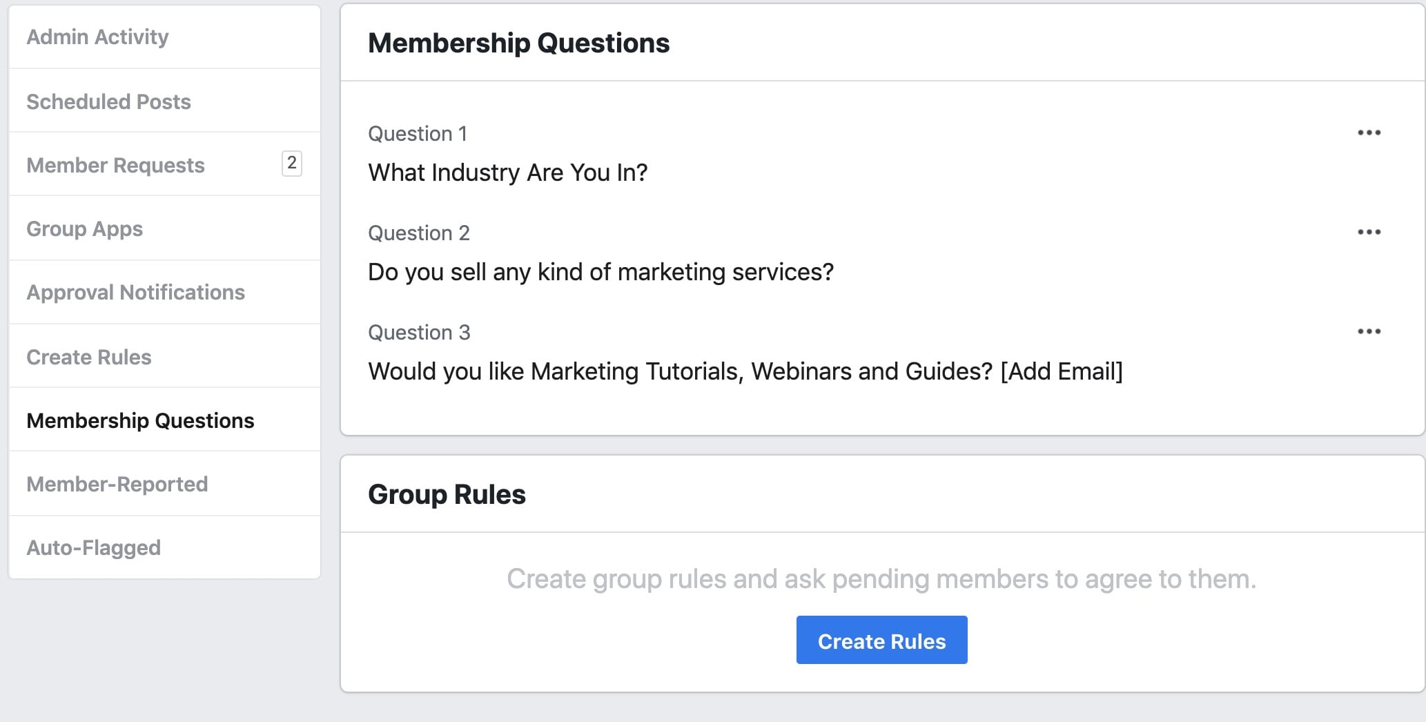 If you truly want to use the group for marketing, and for building a powerful marketing list,  it's best to leave that only to the admins.