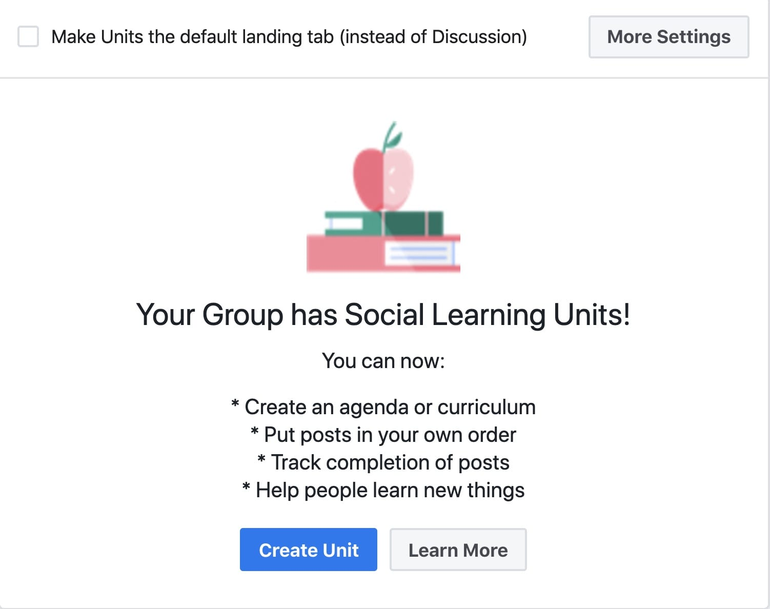 The social learning group is a general group with added features to create a learning environment.  This allows the admin to create learning units, sort them and require them to be viewed. The group has insights which allow the admin to see post-completion and gain information about how students are engaging with the content.