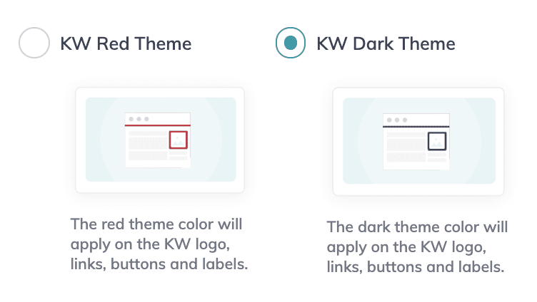 Right now you can only choose from Red or Dark color themes. Based on talks given by the tech team at KW, the goal is to keep the agent sites similar to provide a seamless experience for a user visiting the KW.com website.
