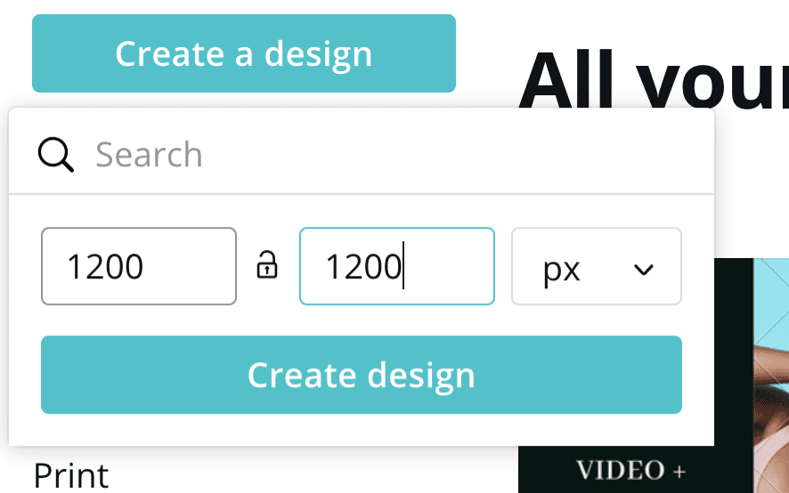While we don't have a lot of personalization options, we can customize a bit with photos. The Hero Image is the large photo that appears on our home page that holds our call to action and search bar.  I like to use Canva for this. Click 'create a design' and choose 1200 x 1200.