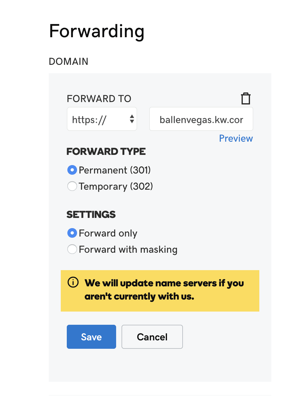 Here's how to forward your domain at GoDaddy to your KW Agent website