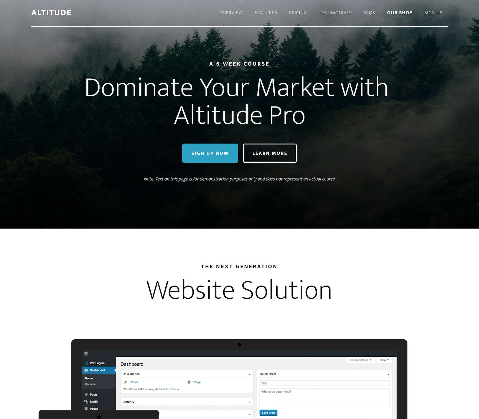 The parallax effects will grab your eye in the Altitude Pro Theme from StudioPress, but it's the features and flexibility of the design that will move your mind. This is a theme with a plan and purpose to take you and your brand higher.