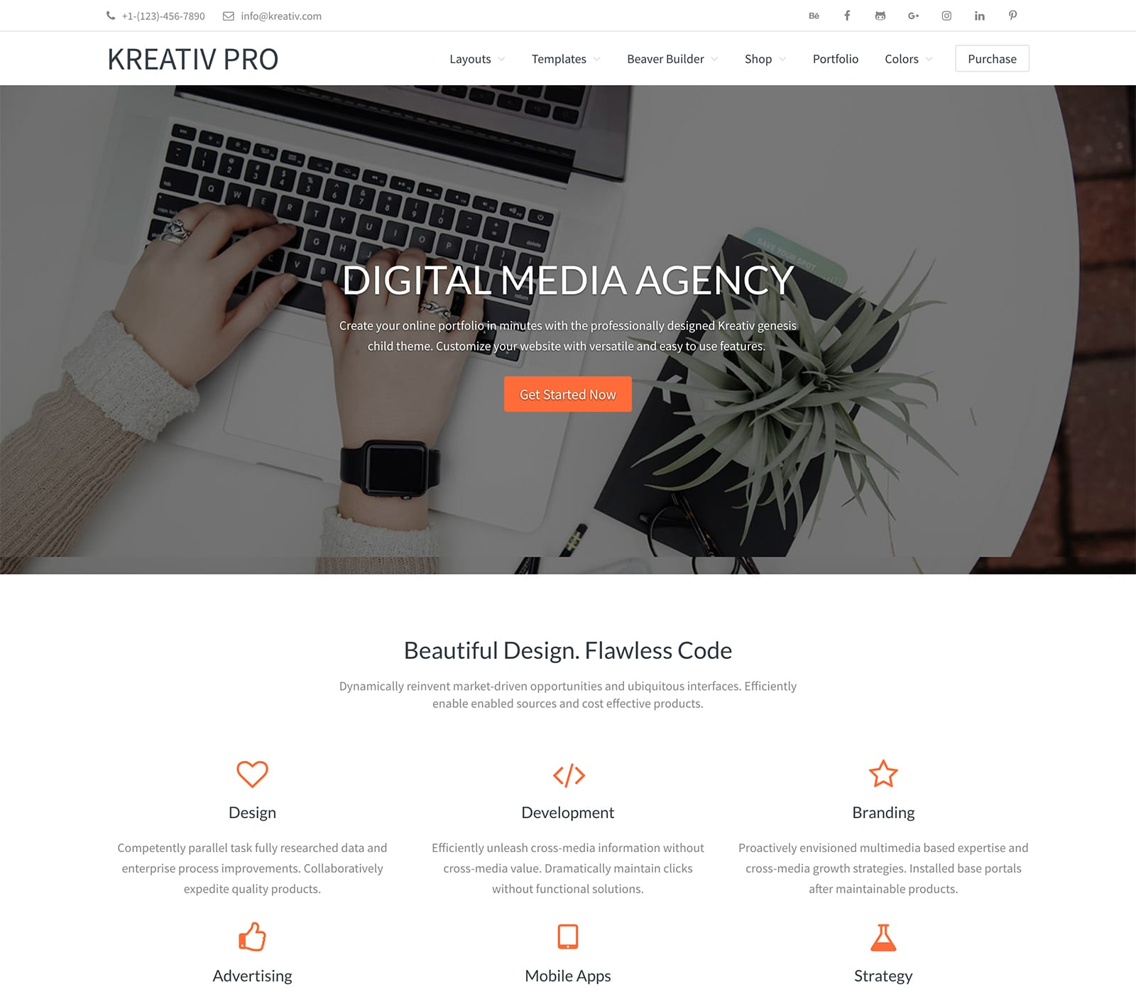 Kreativ Pro is a great design for agencies to show off projects.  a multi-purpose theme designed for agencies to showcase projects in style. It's a versatile, clean style that is easy to use.