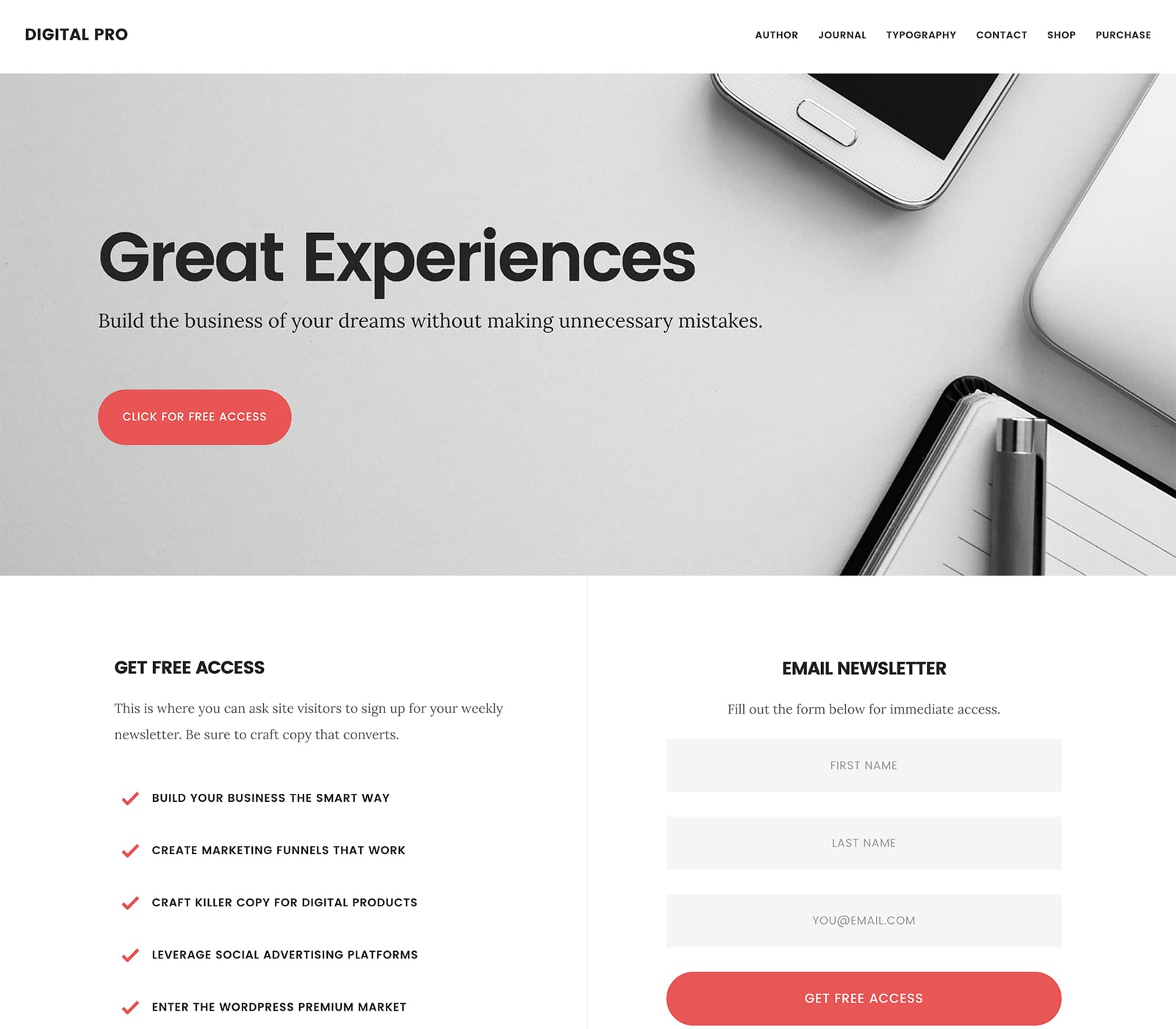 Digital Pro is a Studiopress child theme of the genesis framework and is tech inspired.