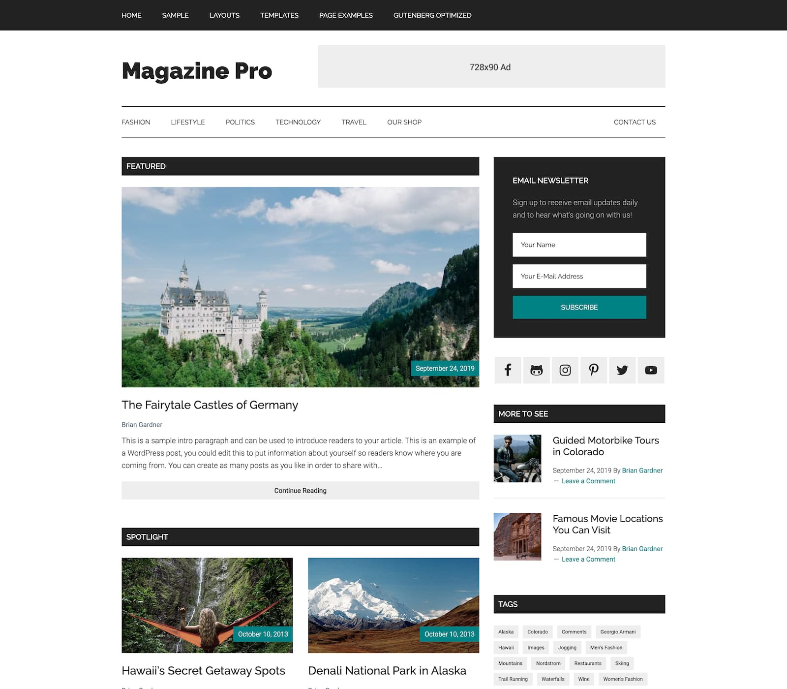 A great theme for writers, bloggers, and publishers, Magazine Pro offers a high-gloss look and feel. It's stylish and presents your content with a media-ready design.