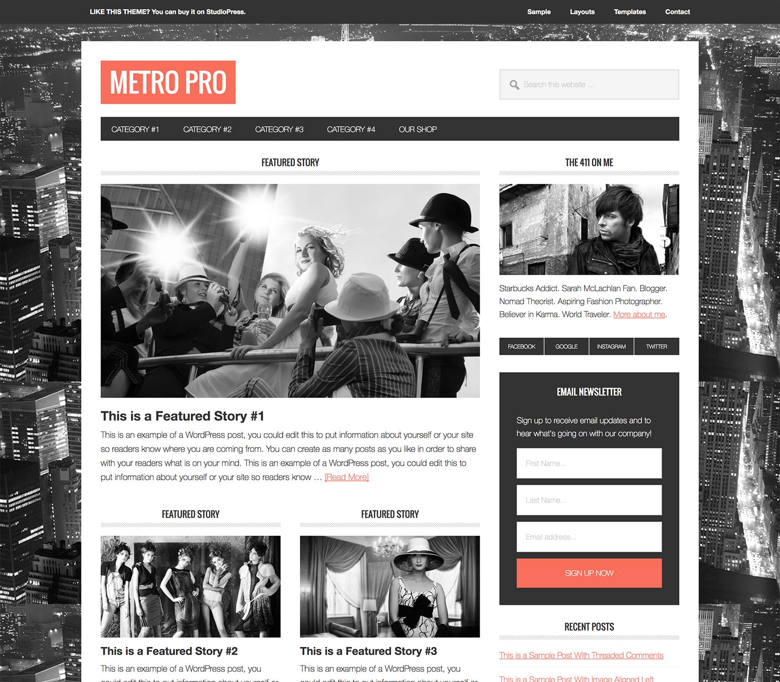 The Metro Pro WordPress theme offers a magazine-style look with a modern design. It's optimized for mobile devices and wide-screens. It's sleek and offers social features to build your audience fast.