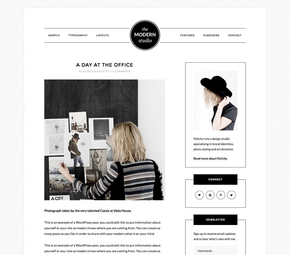 Modern Studio pulls eyes exactly where you want them in an undistracted way. Bloggers understand that highlighting images is a key function a website can perform. Modern Studio cuts back on the clutter simplifies color, and cleans the slate, so that it's your creativity doing all the work.