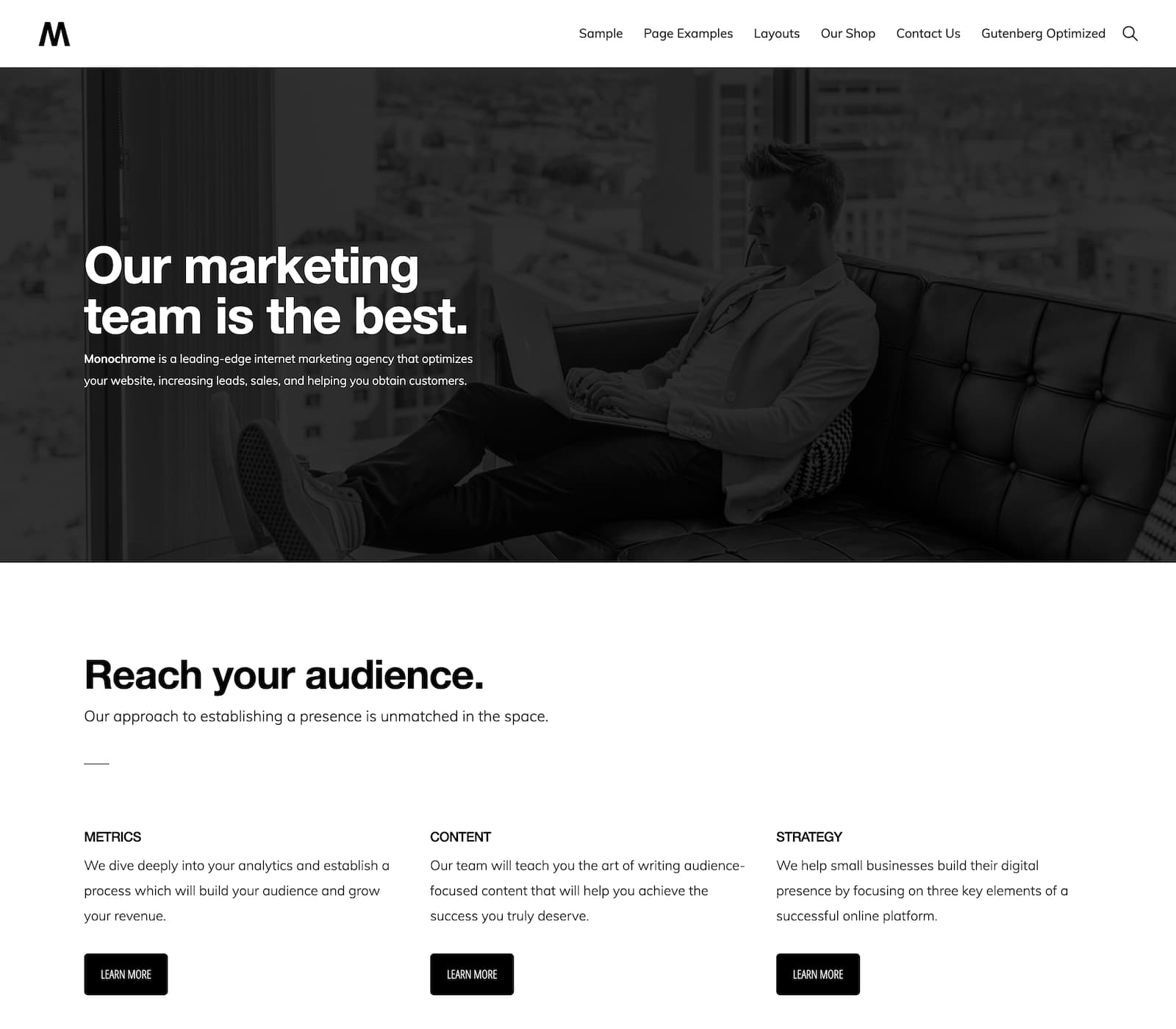 """Need a theme that's substantial but simple? Monochrome Pro is sleek, has just the right balance of white space, and is a minimal """"clean"""" design. This theme is strong visually while being easy to use. It's powered by genesis and has the robust WordPress features you've grown to love."""