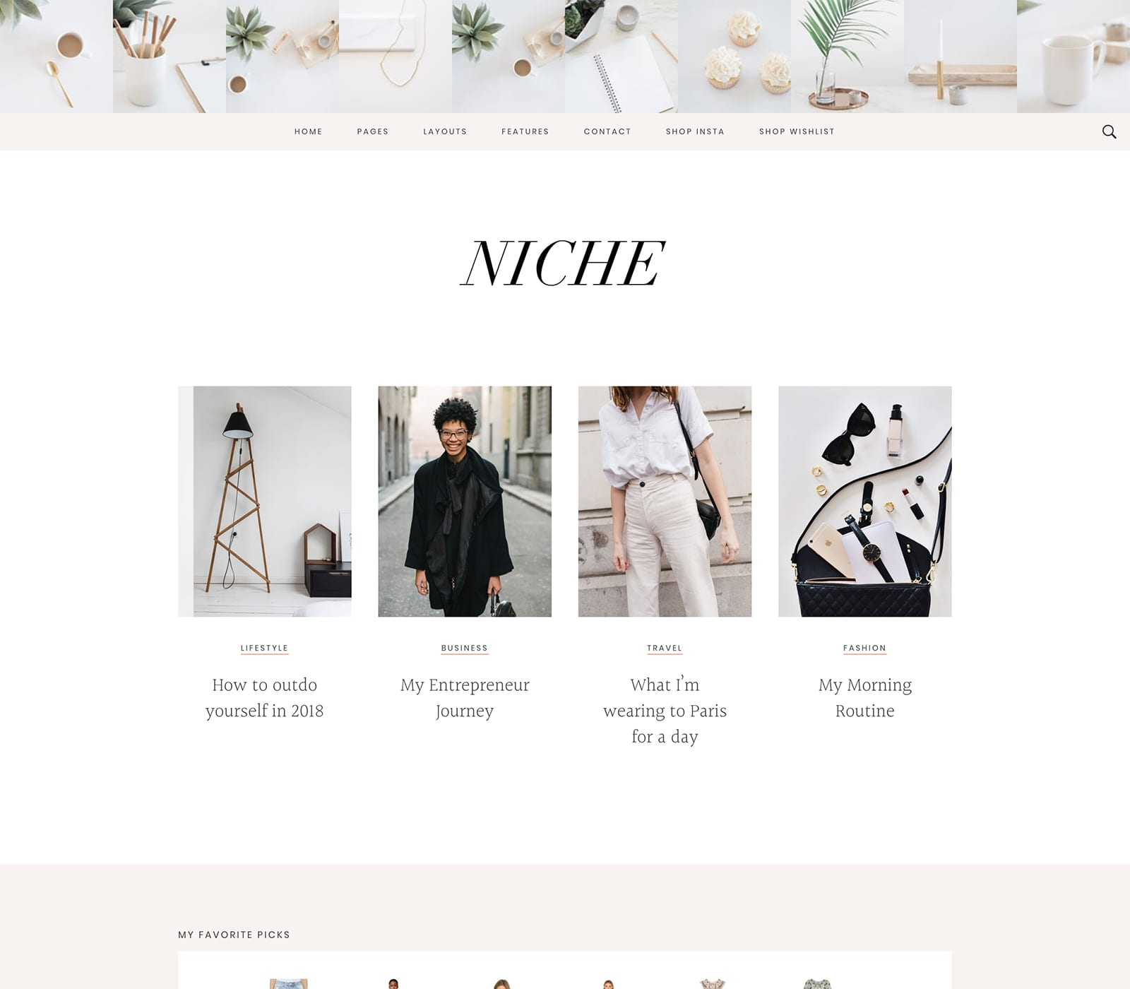 Niche Pro is a Studiopress theme for WordPress and shows is soft pinks, peach and White with fashion blocks