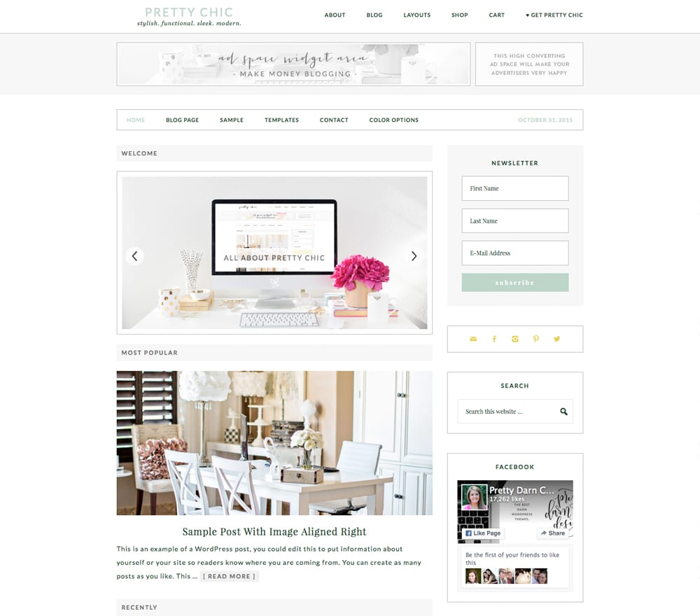 Eat your heart out Pinterest Lovers! Pretty Chic is stylish and functional while still modern and sleek. And it's packed with design options. Choose a single column or one or two sidebars.  You can have a wide width design or the traditional content and sidebar.