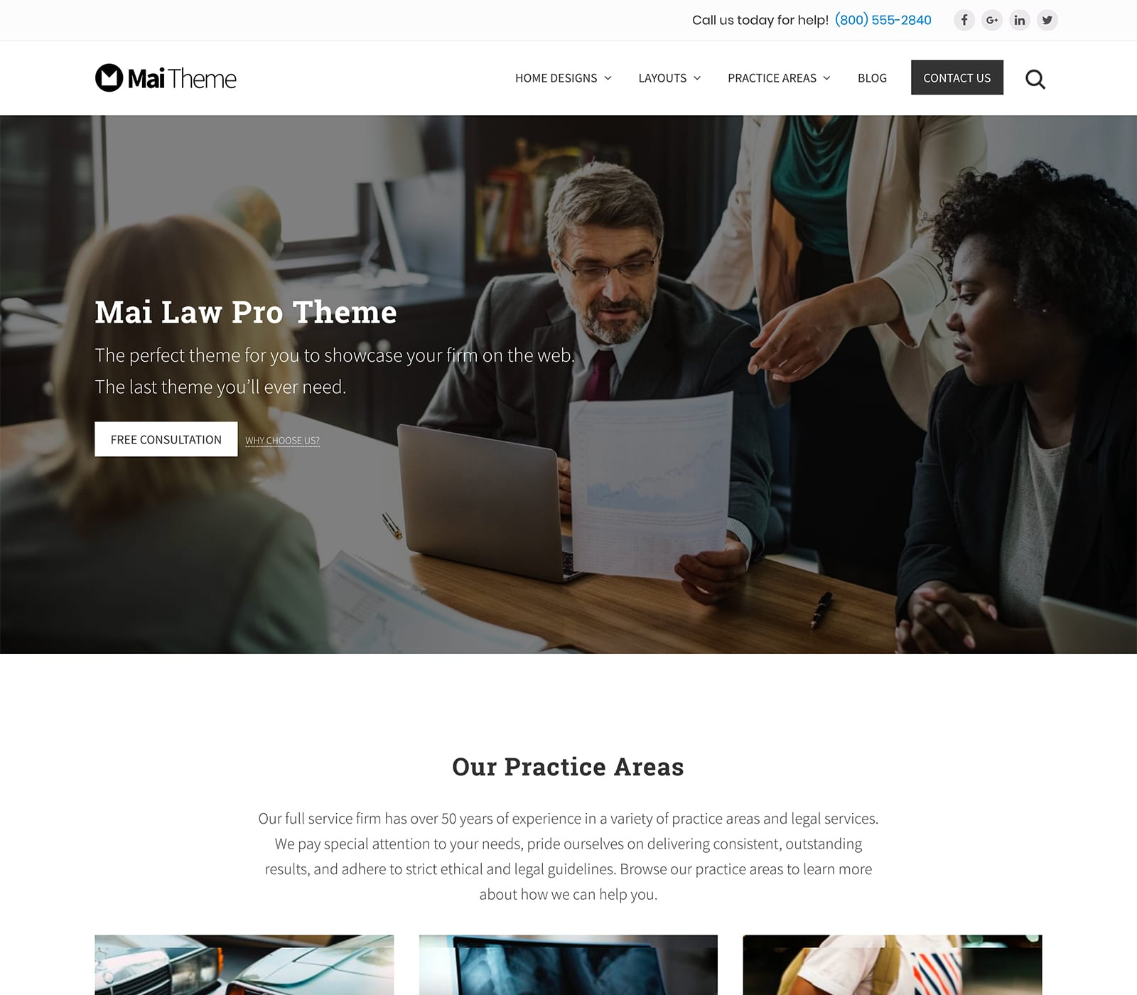 Made for law firms, the Mai Law Pro Theme is a search engine friendly child theme designed to give a law firm or professional practice a contemporary design that is also mobile-responsive. It's simple and flexible and offers 9 layouts. This theme also provides WooCommerce support and customizations.