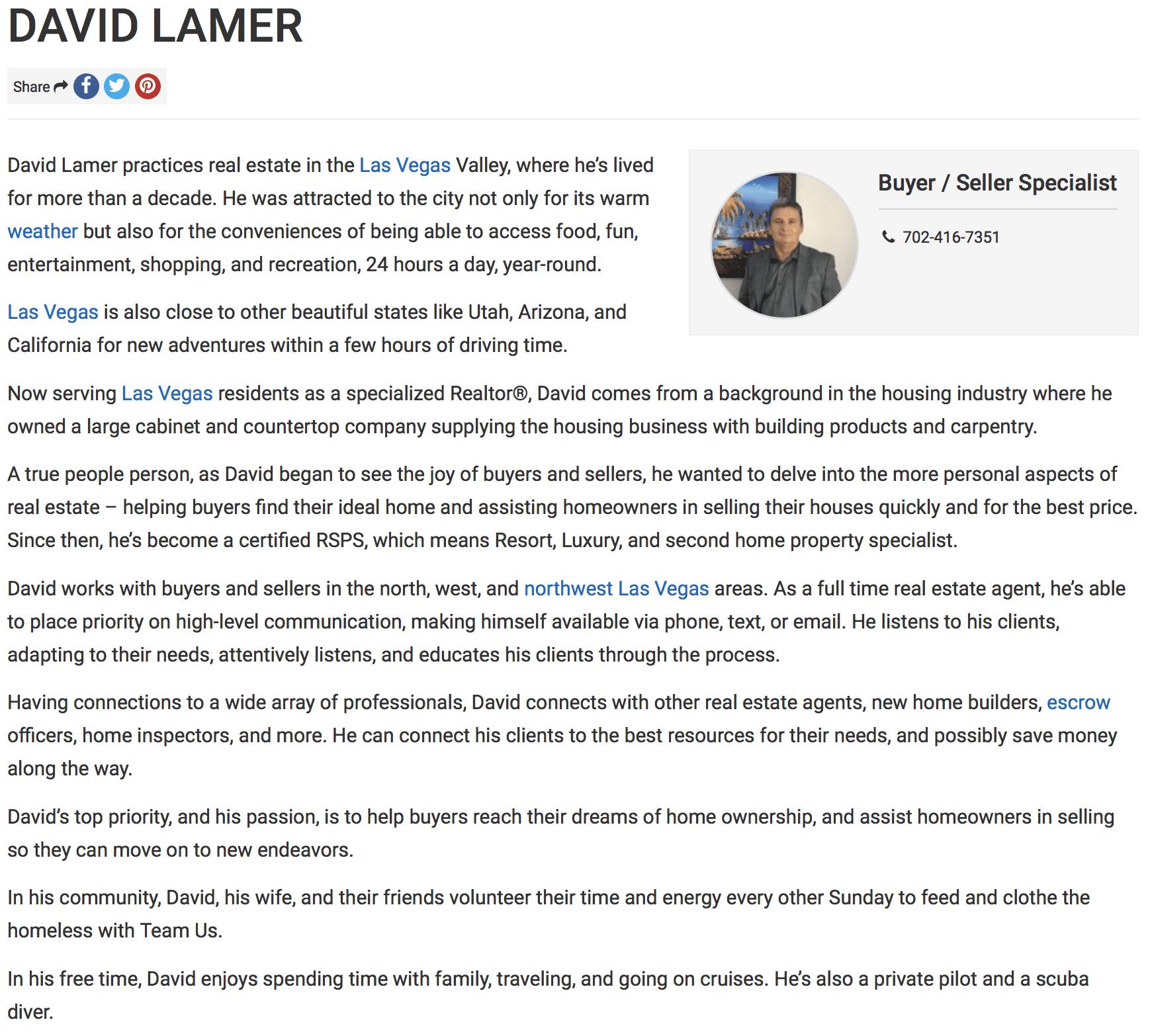 David Lamer is a Las Vegas Real Estate Agent with Lori Ballen Team at Keller Williams