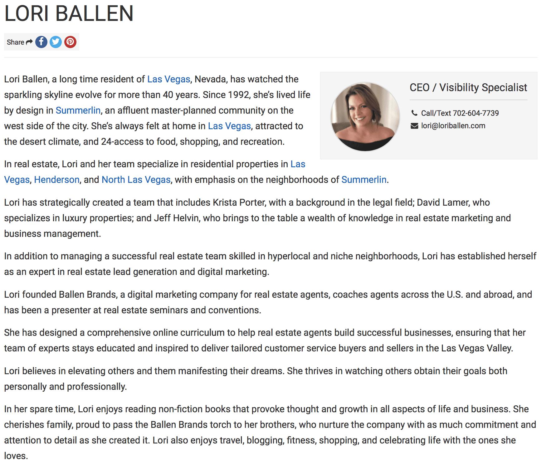 Lori Ballen is a real estate agent in las Vegas, NV