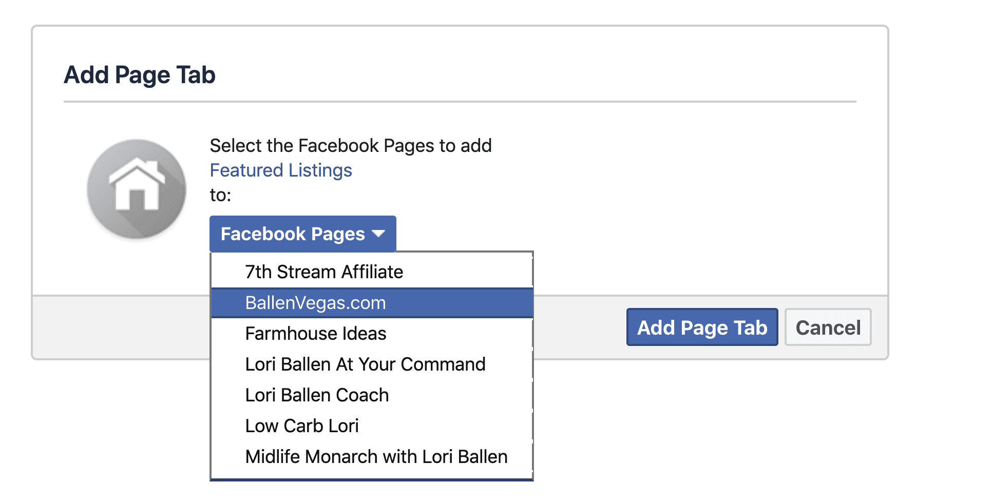 Next, Facebook will open giving you the option to choose which Facebook Page should receive the new IDX Listings Tab.