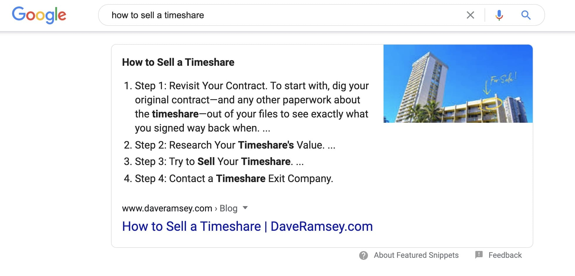 How to Sell a Timeshare is a featured snippet earned by Dave Ramsey