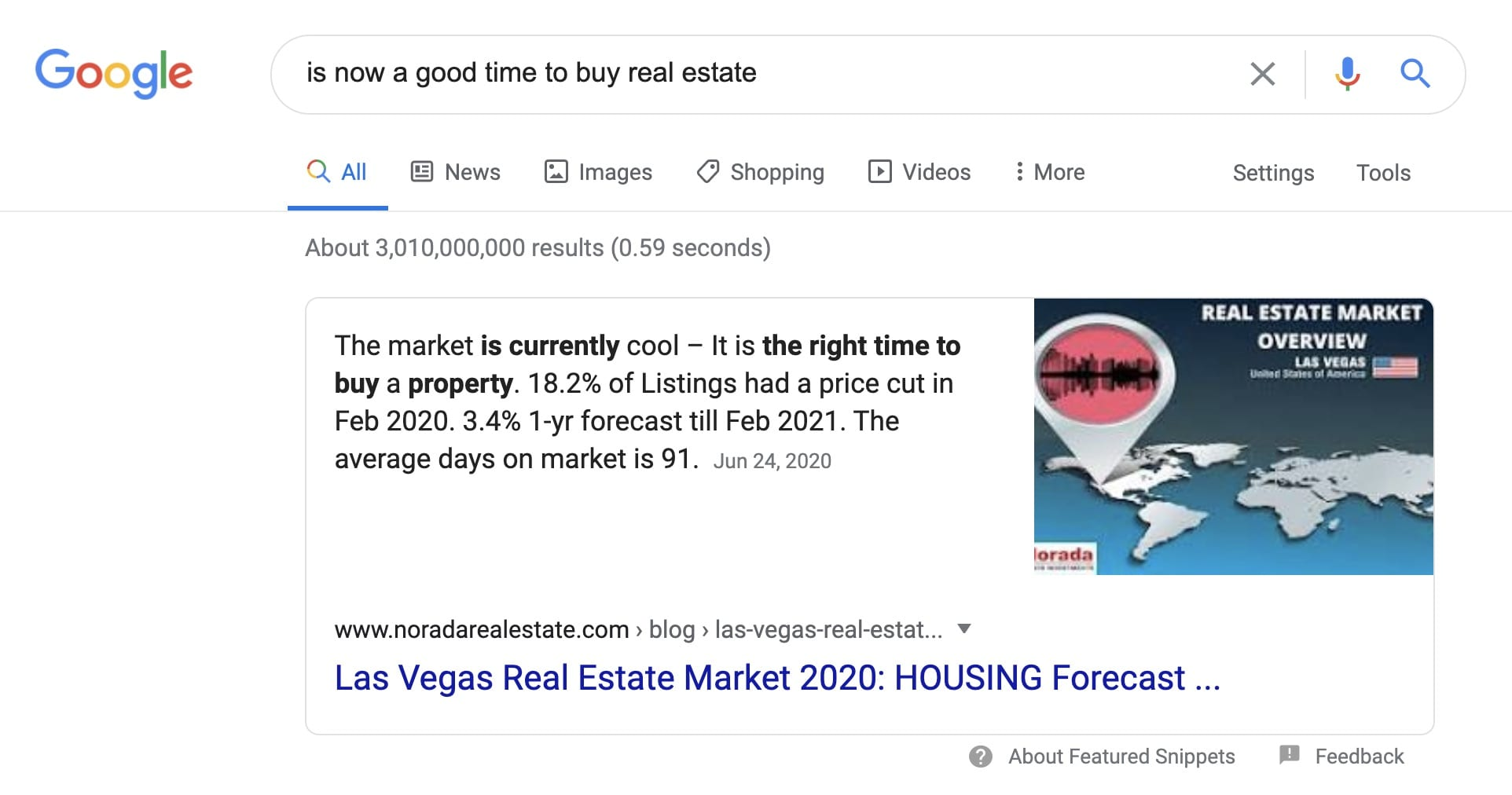 Is Now a good time to buy real estate is a search term used on google that has earned Noradarealestate.com a featured snippet