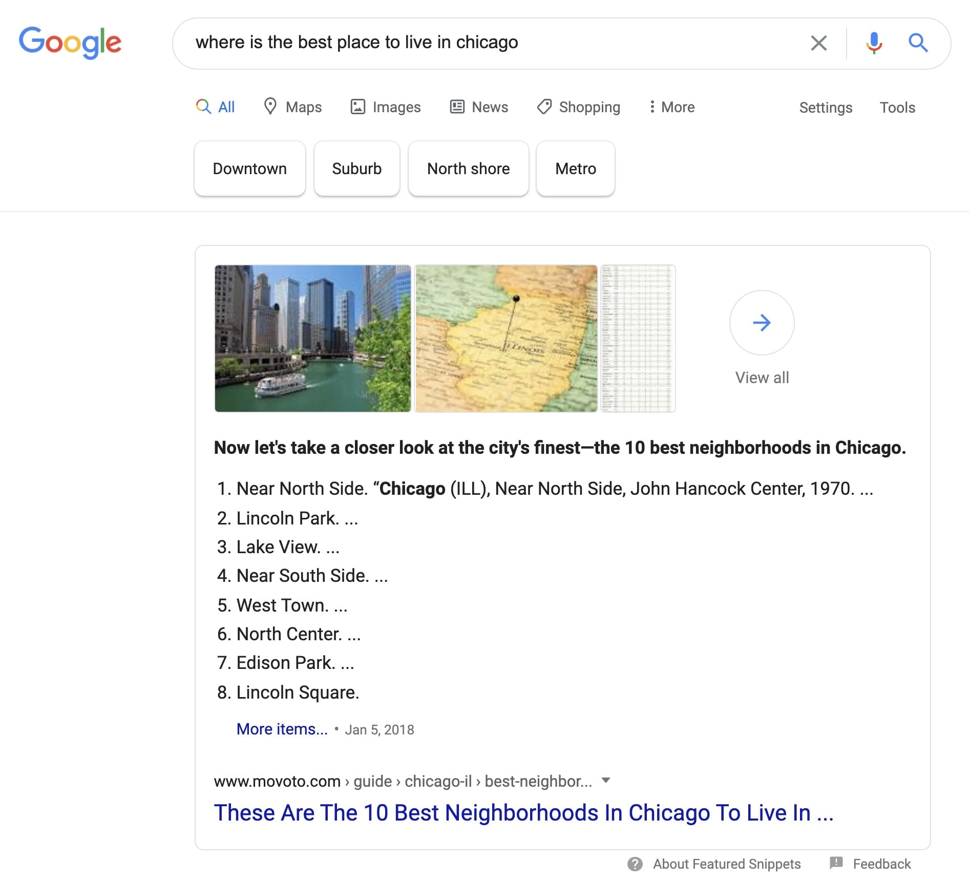 Where is the best place to live in chicago is a search on Google that returns a blog written by moveto