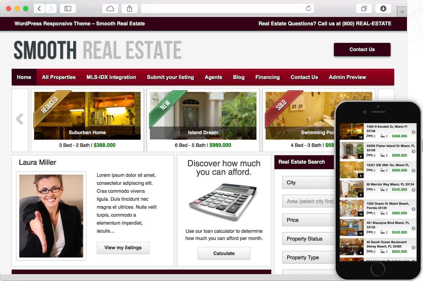 WordPress Real Estate Theme with IDX-MLS integration and Mobile Responsive Layout.