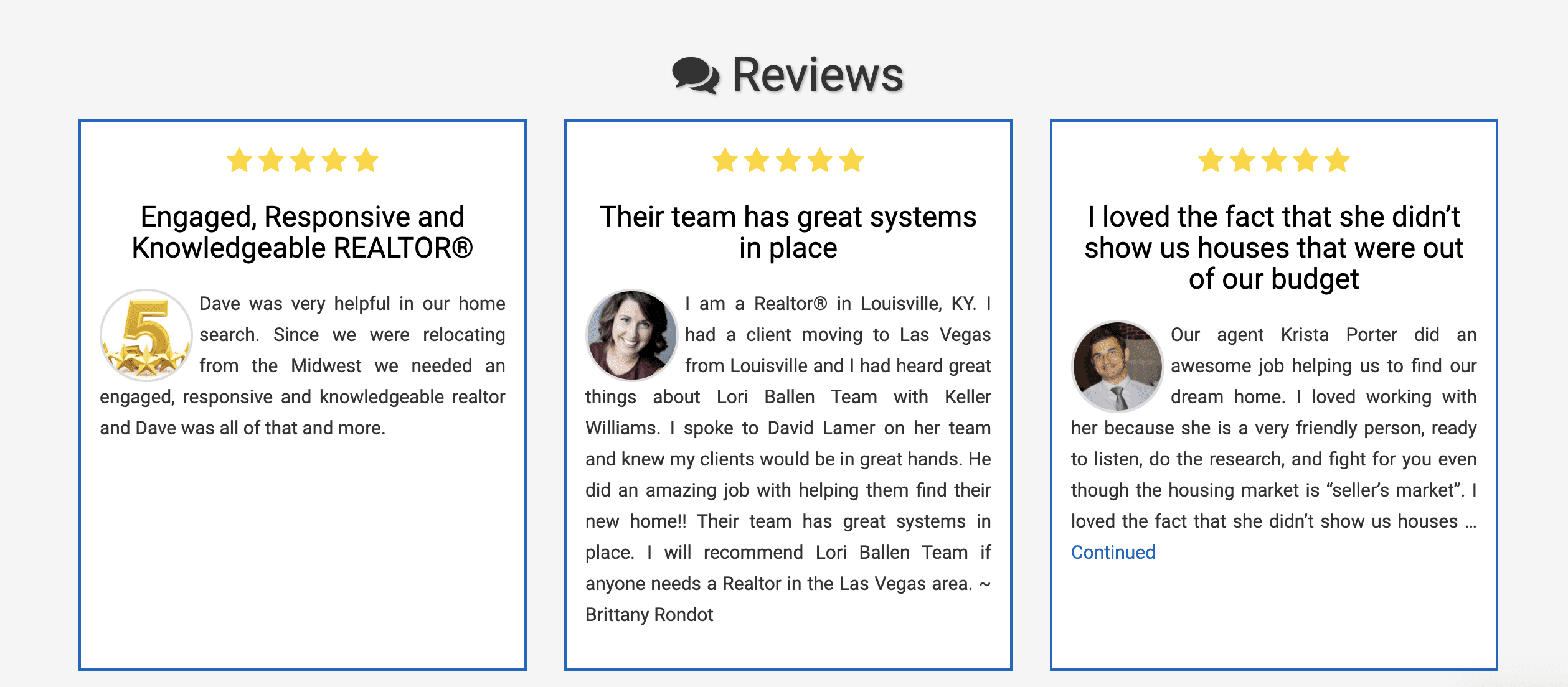 A great real estate agent website would allow you to collect and display reviews. This is an example of the BREW by Ballen Brands.