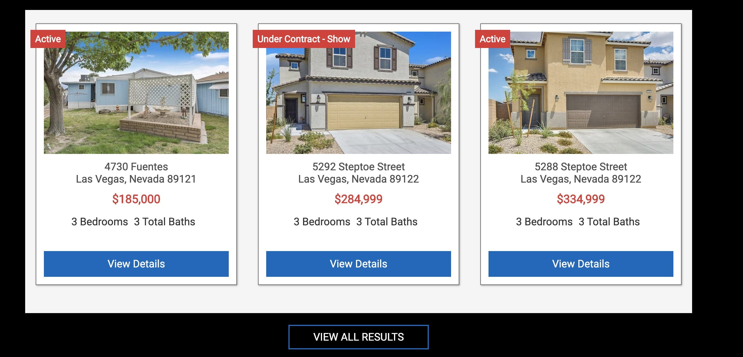 This is a sample of the IDX Broker 3 column widget. You can customize how many houses you want to appear in a row by adjusting the columns.