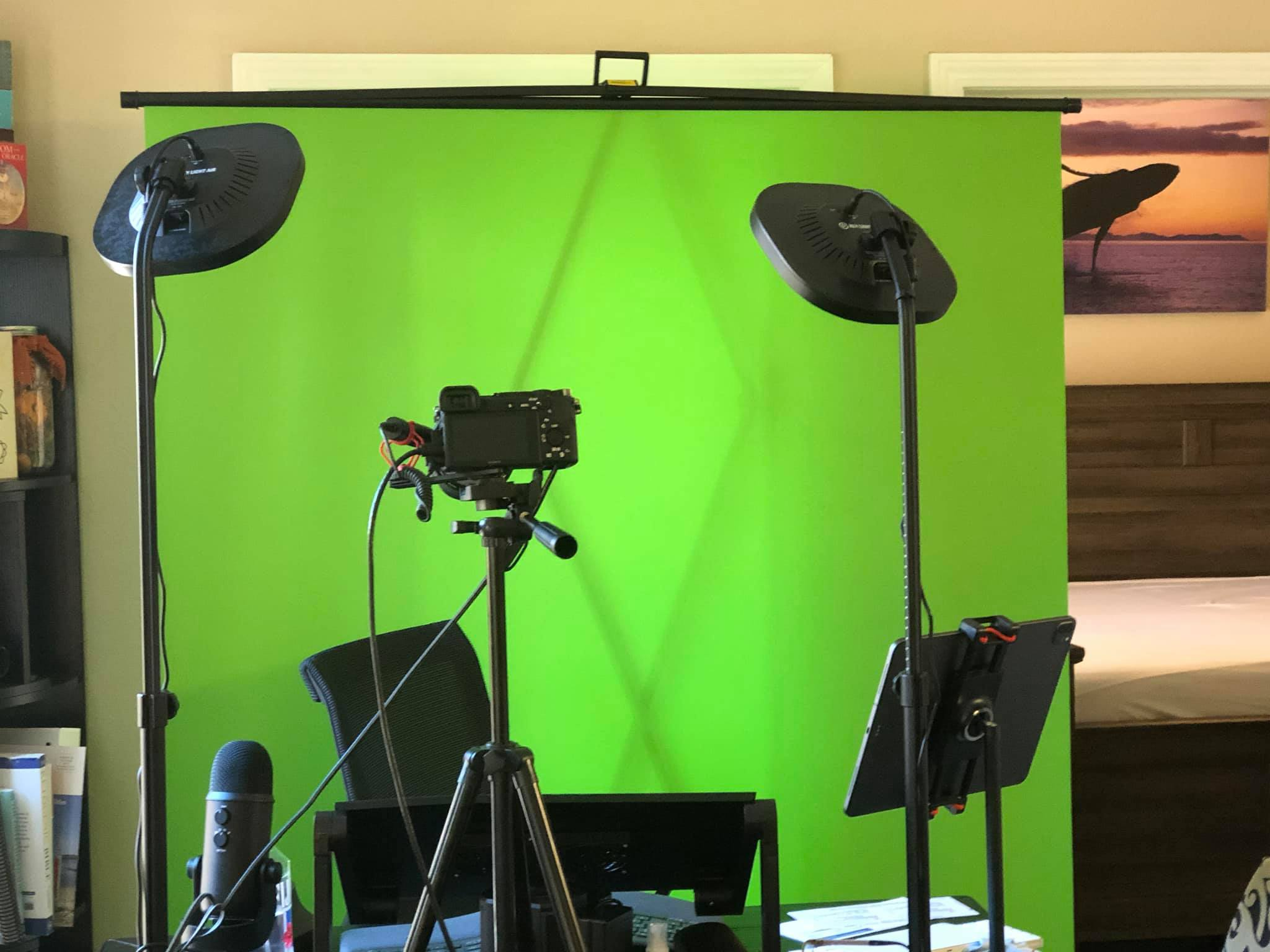 Lori Ballen's pop up Youtube Studio Equipment