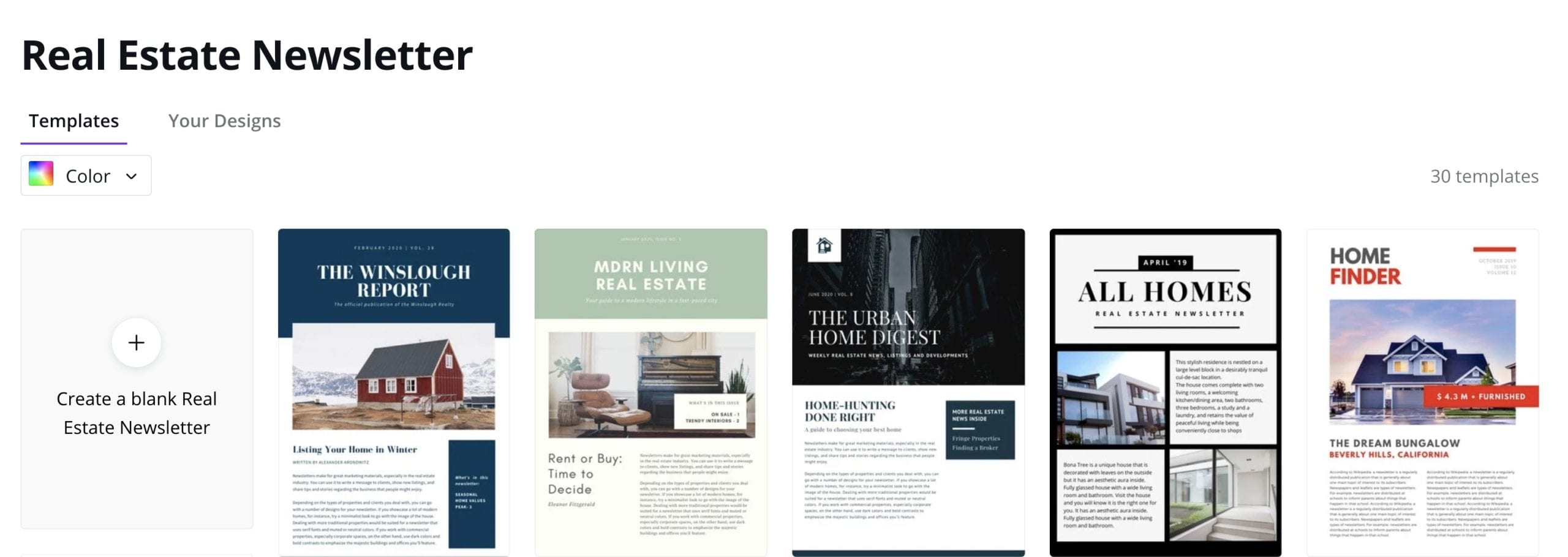 Make real estate newsletters in Canva.