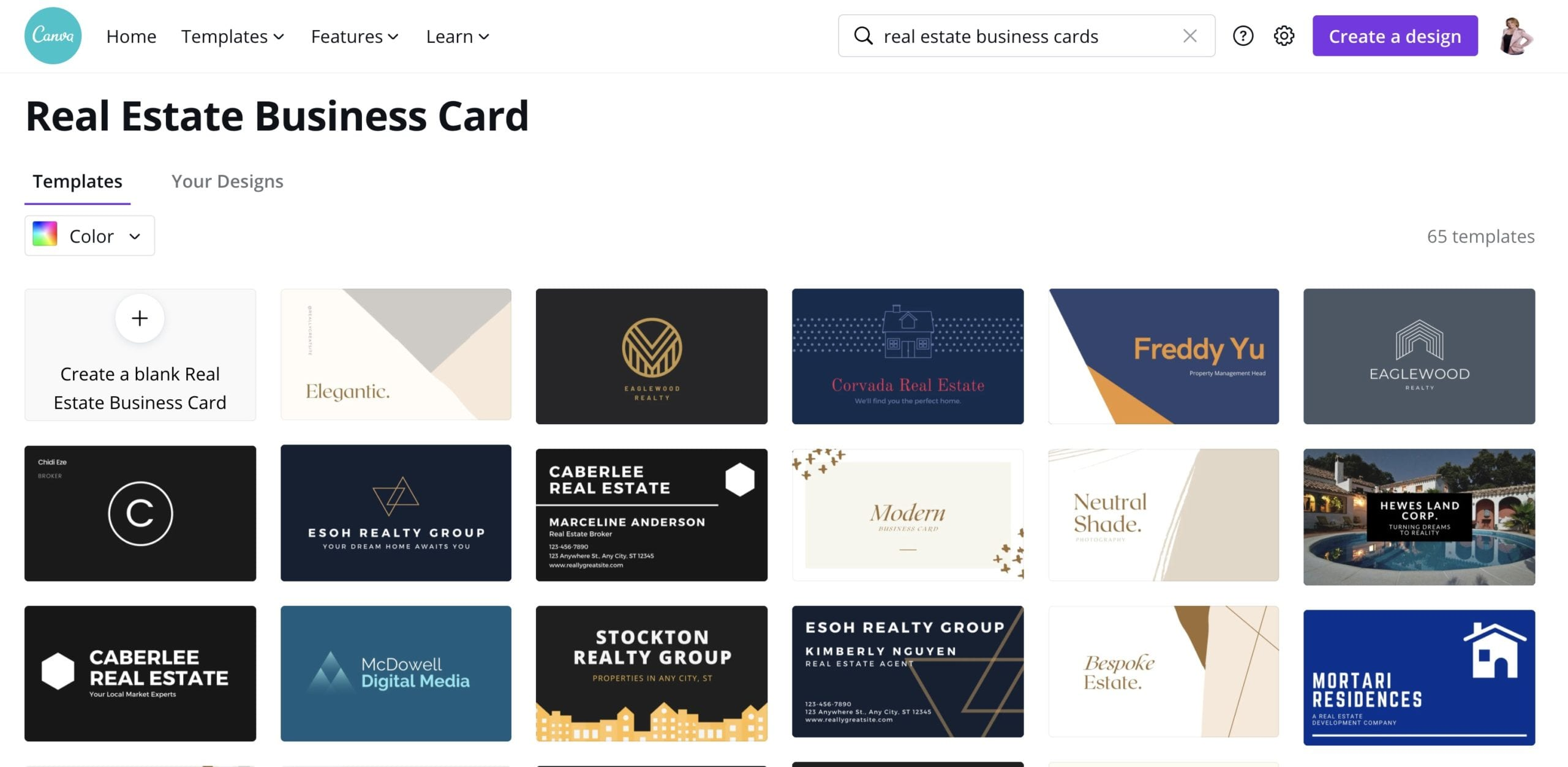 Make real estate business cards in canva
