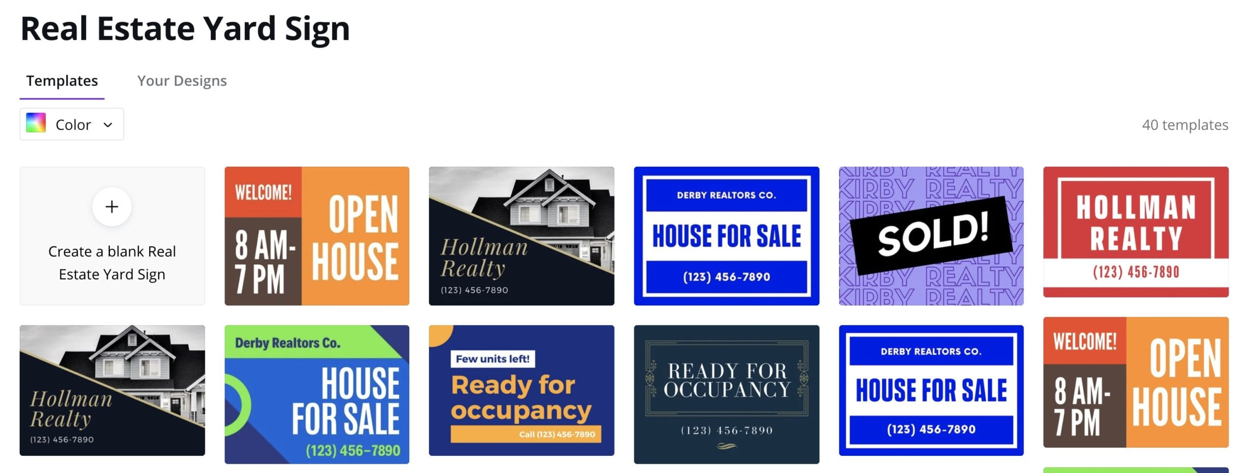 Layout your real estate yard signs in Canva.
