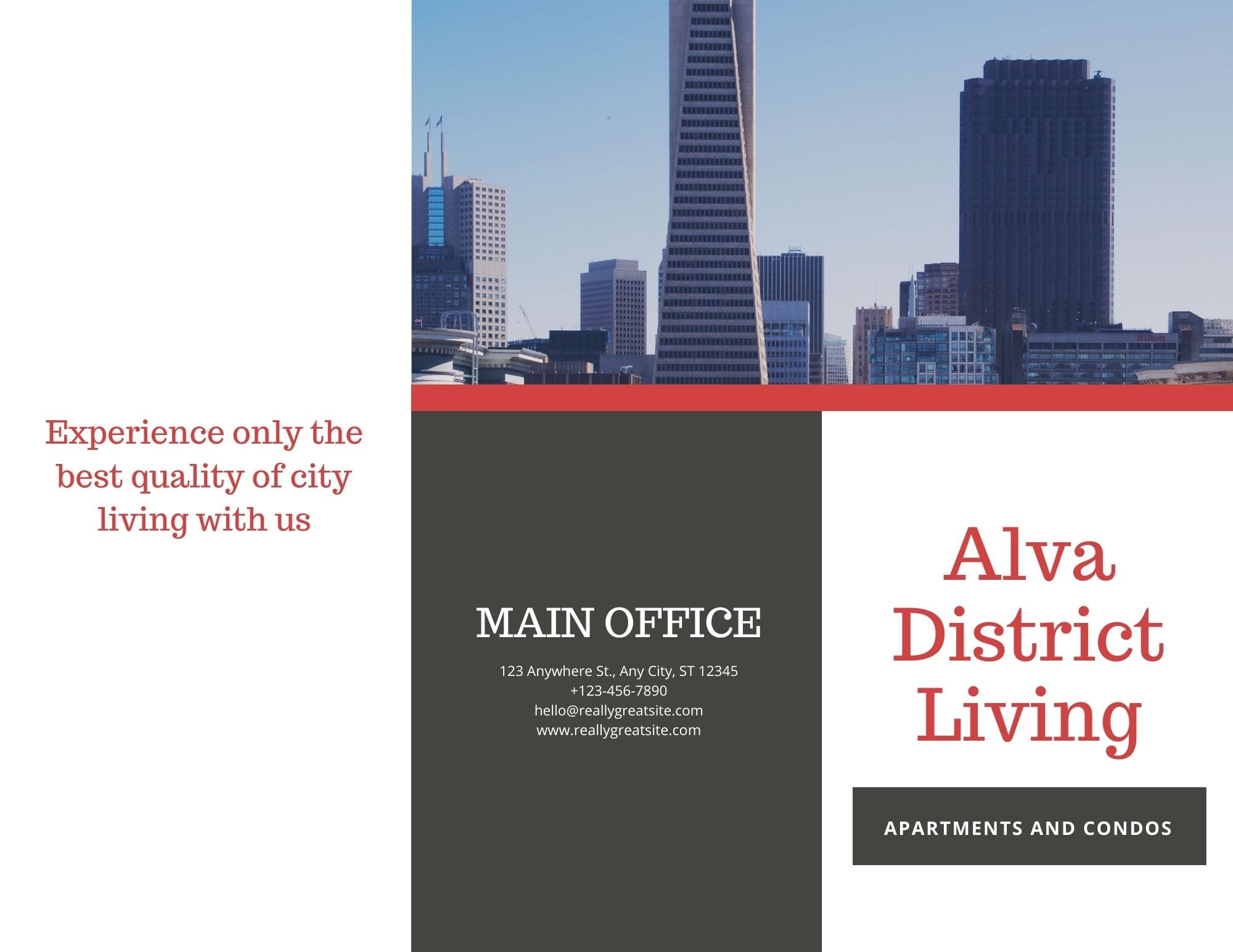 Use Canva to create tri-fold real estate brochures. You can print your brochures right from the Canva platform. Choose the finish, number of copies, if you'd like to include envelopes, and send to the printer. Your brochures will be mailed directly to you.