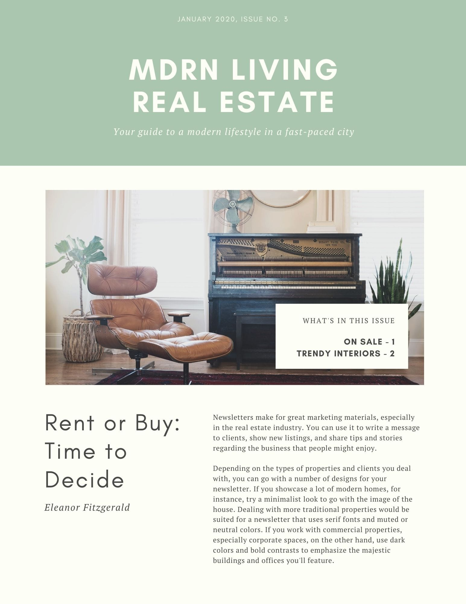 Canva has a library of real estate newsletter templates that can be edited and printed directly from Canva. Choose whether you want to print them one or two-sided, standard or premium paper, and the number of copies.